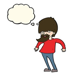cartoon bearded man shrugging shoulders with vector image vector image