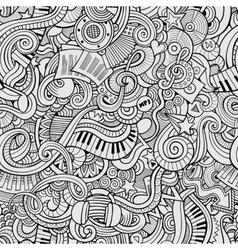 Cartoon hand-drawn doodles music seamless pattern vector image