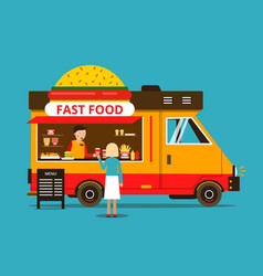 Cartoon of food truck on the street vector