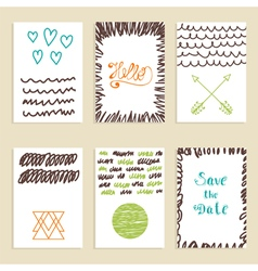 Collection of hand drawn creative journaling cards vector