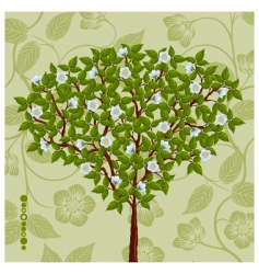 floral background with a tree vector image vector image