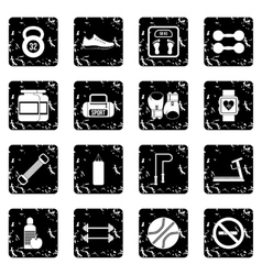 Gym set icons grunge style vector