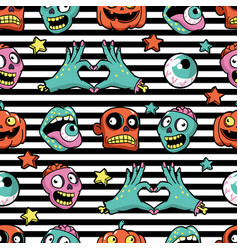halloween seamless pattern in cartoon comic style vector image vector image