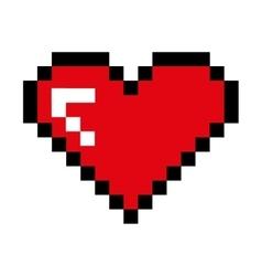 Heart pixel love icon vector