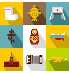 Holiday in russia icons set flat style vector