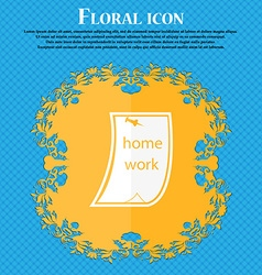 Homework icon floral flat design on a blue vector