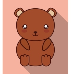 Kawaii bear icon cute animal graphic vector