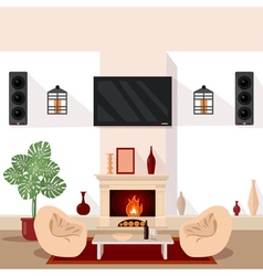 Living room interior with tv and fireplace vector