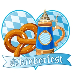 Oktoberfest pretzel and mug vector