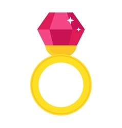 Precious ring with stone colored gems isolated on vector