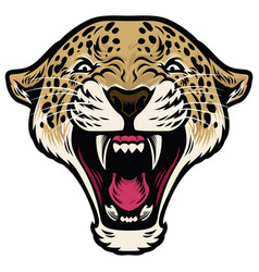 Roaring leopard head vector