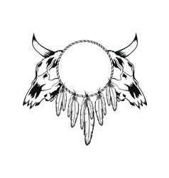 skulls bull and tambourine vector image vector image