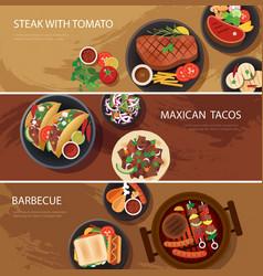 Street food web banner steak tacos bbq vector