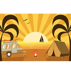 Tropical island campsite with traveler truck vector