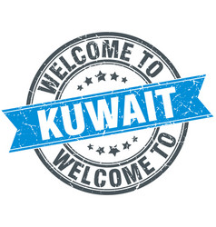 Welcome to kuwait blue round vintage stamp vector