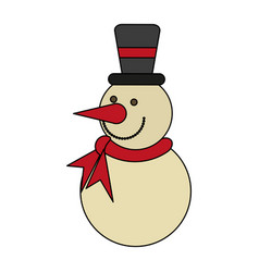 White background with snowman with scarf and hat vector