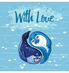 Yin Yang seal pups vector image vector image
