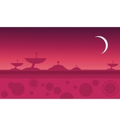Silhouette of alien spacecraft at night vector
