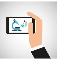 Hand hold smartphone microscope exam vector