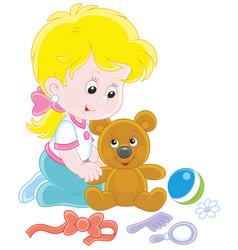 Little girl and teddy bear vector