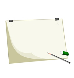 Sharpened pencils and eraser on blank clipboard vector