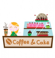 Coffee cake shop vector