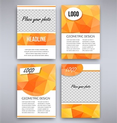 Big set of orange triangular design flyer template vector