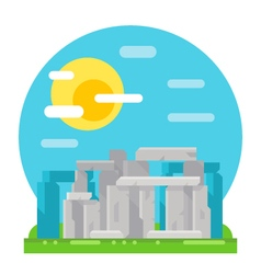 Stonehenge site flat design landmark vector