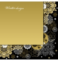 Winter design with golden white snowflakes on vector
