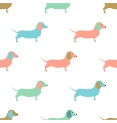 Seamless pattern with cute dachshound dogs vector