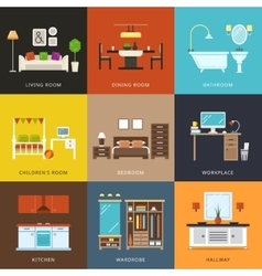 Interior of different rooms types vector