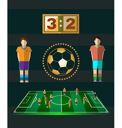 Soccer match scoreboard and players vector