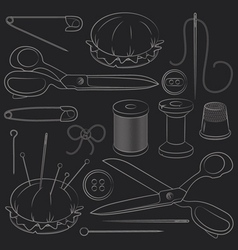 Set sewing supplies vector