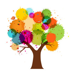 abstract abstract colorful tree with splashes vector image vector image