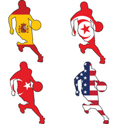 basketball colors of Spain Tunisia Turkey United S vector image vector image