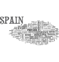 Bb in spain text word cloud concept vector