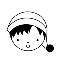 Black icon christmas little boy vector