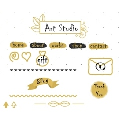 Blog template elements in gold and grey vector
