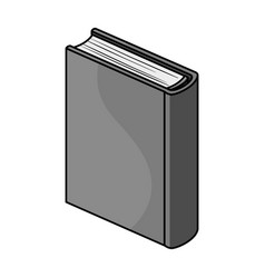 Blue standing book icon in monochrome style vector