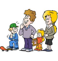 cartoon of a happy family vector image vector image