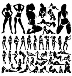 collection of women in bikini vector image