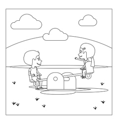 Coloring page with kids on playground vector