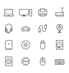 Computer and computer accessories icons vector