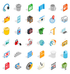 computer part icons set isometric style vector image