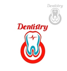 Dentistry icon or emblem of tooth symbol vector