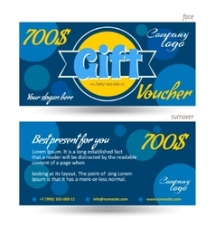 Discount voucher template blue background vector image vector image