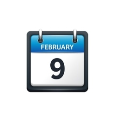 February 9 Calendar icon flat vector image vector image