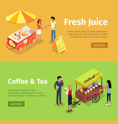 Fresh juice and coffee tea umbrella carts set vector