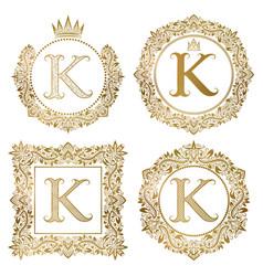 Golden letter k vintage monograms set heraldic vector