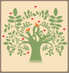Green tree with love message and doves vector image vector image
